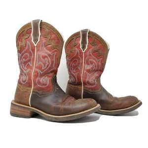 Ariat Unbridled Brown Red Leather Western Boots